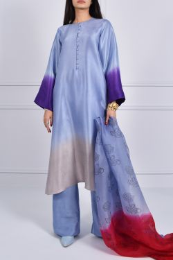 Forever Blue Oversized Ombre Raw Silk Tunic Set